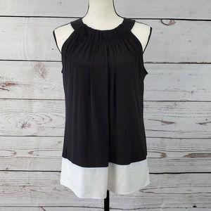 Calvin Klein color block halter neck slinky blouse